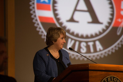 CNCS CEO Wendy Spencer speaking at the AmeriCorps VISTA 50th anniversary celebration held at the National Museum of the American Indian in Washington, D.C. Corporation for National and Community Service Photo.