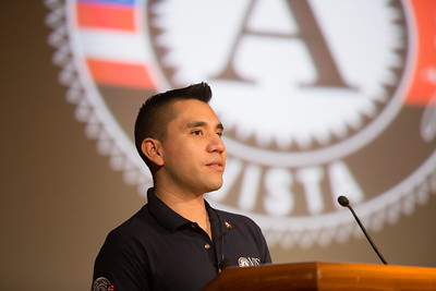 Eric Perez, AmeriCorps VISTA, CADCA VetCorps sharing his experience as an AmeriCorps VISTA member at the AmeriCorps VISTA 50th anniversary celebration held at the National Museum of the American Indian in Washington, D.C. Corporation for National and Community Service Photo.