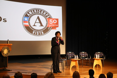 Micia Mosely moderator for AmeriCorps VISTA panel at the AmeriCorps VISTA 50th anniversary celebration held at the National Museum of the American Indian in Washington, D.C. Corporation for National and Community Service Photo.