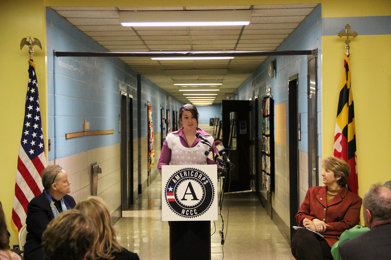 AmeriCorps NCCC alumna Megan Hill addresses community members and attendees at the dedication of the future home of the AmeriCorps NCCC Atlantic Region Campus in Baltimore, MD. Corporation for National and Community Service Photo.