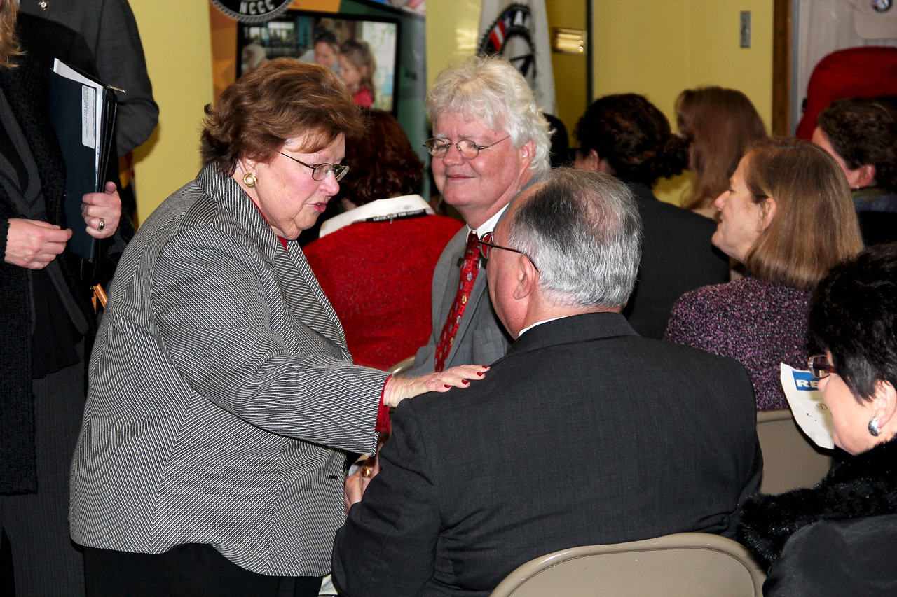 Sen. Barbara Mikulski greets community members at the future home of the AmeriCorps NCCC Atlantic Region Campus in Baltimore, MD. Corporation for National and Community Service Photo.