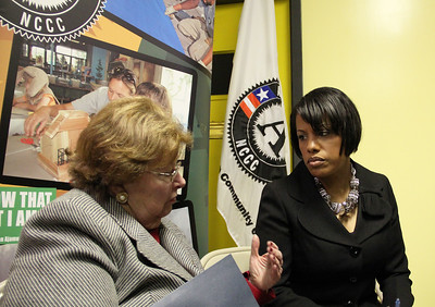 Sen. Barbara Mikulski chats with Baltimore Mayor Stephanie Rawlings-Blake at the future home of the AmeriCorps NCCC Atlantic Region Campus in Baltimore, MD. Corporation for National and Community Service Photo.