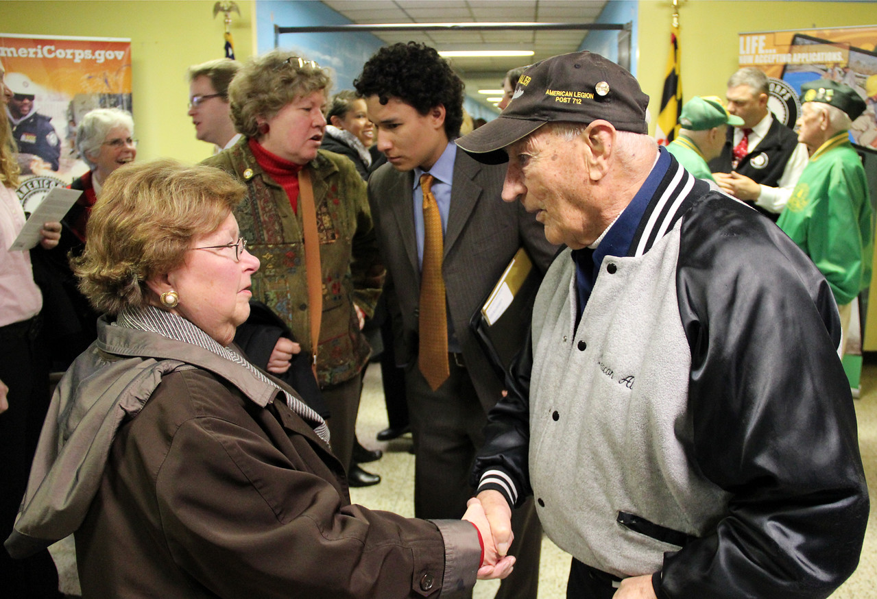 "Sen. Barbara Mikulski greets ""Deacon Al,"" a local community member and veteran of World War II, at the future home of the AmeriCorps NCCC Atlantic Region Campus in Baltimore, MD. Corporation for National and Community Service Photo."