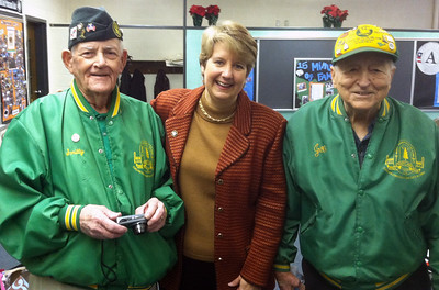 CNCS CEO Wendy Spencer greets Civilian Conservation Corps (CCC) alumni Joseph De Cenzo and George B. Smith at the future home of the AmeriCorps NCCC Atlantic Region Campus in Baltimore, MD. Corporation for National and Community Service Photo.