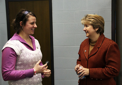 CNCS CEO Wendy Spencer greets AmeriCorps NCCC alumna Megan Hill at the future home of the AmeriCorps NCCC Atlantic Region Campus in Baltimore, MD. Corporation for National and Community Service Photo.