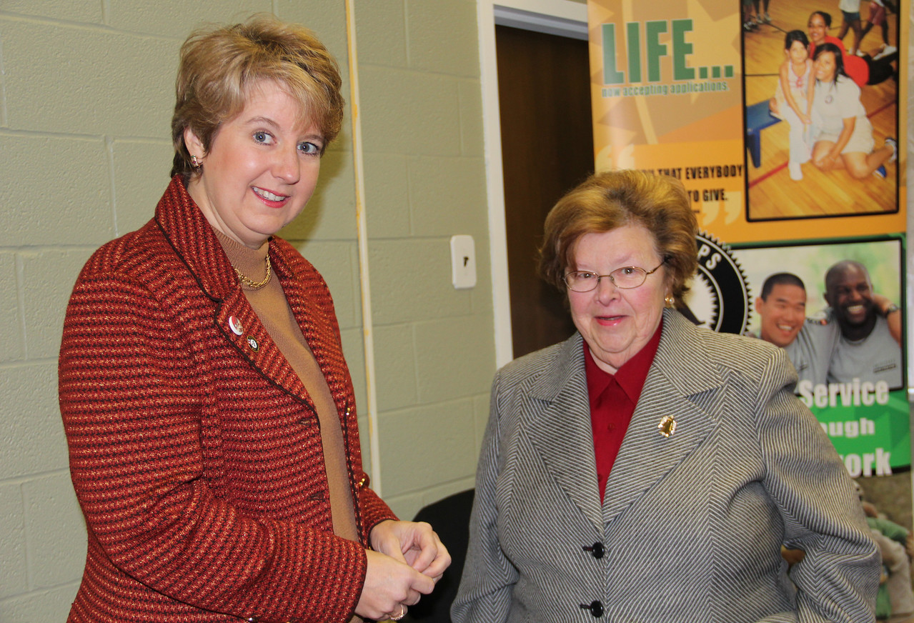 CNCS CEO Wendy Spencer greets Sen. Barbara Mikulski at the future home of the AmeriCorps NCCC Atlantic Region Campus in Baltimore, MD. Corporation for National and Community Service Photo.
