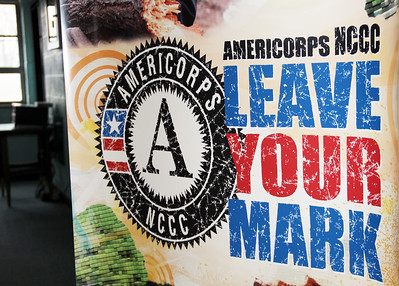 "Banner reading ""AmeriCorps NCCC: Leave Your Mark"" at the future home of the AmeriCorps NCCC Atlantic Region Campus in Baltimore, MD. The new campus, which is scheduled to open in spring of 2013, is located at the former Sacred Heart of Mary School in the Dundalk neighborhood of Baltimore. Corporation for National and Community Service Photo."