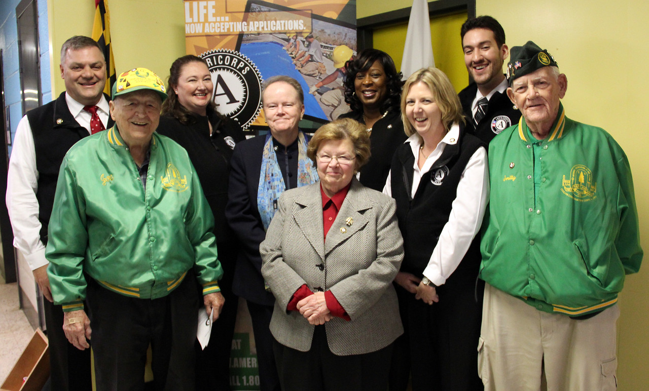 Sen. Barbara Mikulski, AmeriCorps NCCC Director Kate Raftery, and Civilian Conservation Corps alumni join AmeriCorps NCCC staff members at the future home of the AmeriCorps NCCC Atlantic Region Campus in Baltimore, MD. Corporation for National and Community Service Photo.