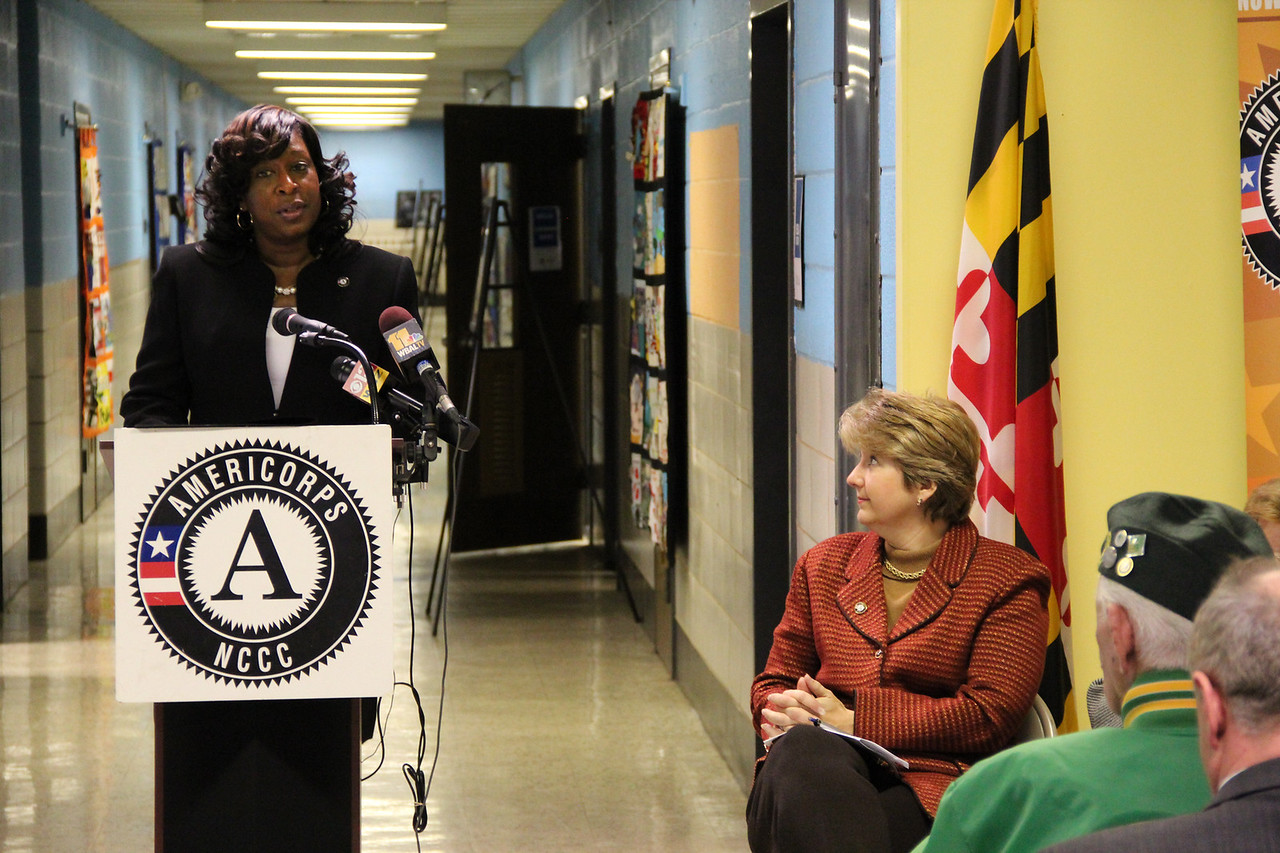 AmeriCorps NCCC Atlantic Region Director LaQuine Roberson addresses community members and attendees at the dedication of the future home of the AmeriCorps NCCC Atlantic Region Campus in Baltimore, MD. Corporation for National and Community Service Photo.