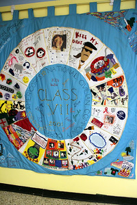 An AmeriCorps NCCC team quilt hangs on display at the future home of the AmeriCorps NCCC Atlantic Region Campus in Baltimore, MD. The new campus, which is scheduled to open in spring of 2013, is located at the former Sacred Heart of Mary School in the Dundalk neighborhood of Baltimore. Corporation for National and Community Service Photo.