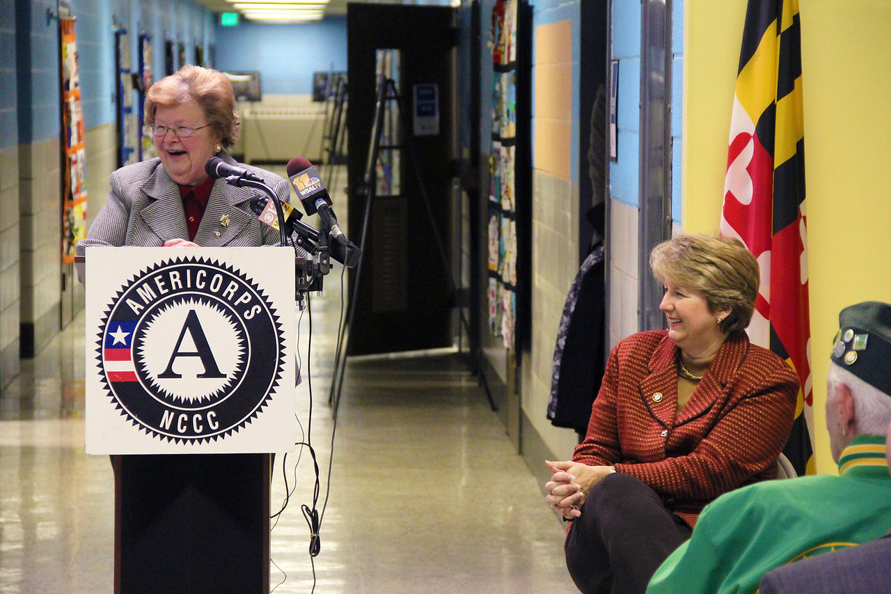 Sen. Barbara Mikulski addresses community members and attendees at the dedication of the future home of the AmeriCorps NCCC Atlantic Region Campus in Baltimore, MD. Corporation for National and Community Service Photo.