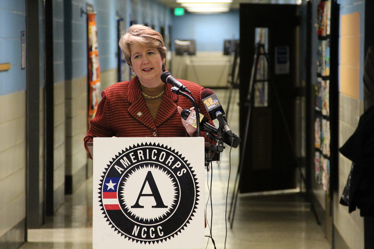 CNCS CEO Wendy Spencer addresses community members and attendees at the dedication of the future home of the AmeriCorps NCCC Atlantic Region Campus in Baltimore, MD. Corporation for National and Community Service Photo.