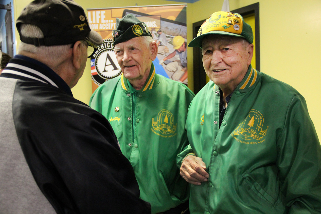 Civilian Conservation Corps (CCC) alumni Joseph De Cenzo and George B. Smith chat about the history of national service at the future home of the AmeriCorps NCCC Atlantic Region Campus in Baltimore, MD. Corporation for National and Community Service Photo.