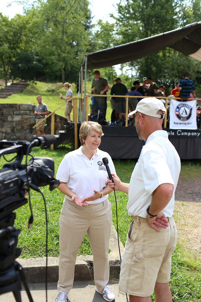 CNCS CEO, Wendy Spencer being interviewed by local media in Whipple, WV. Corporation for National and Community Service Photo.