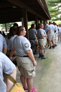 AmeriCorps NCCC members enjoying a cookout after serving all week in West Virginia. Corporation for National and Community Service Photo.