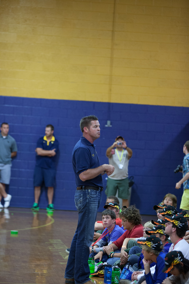 WV State Senator, Mike Green (D - Raleigh, 09) speaking at a service project at a gymnasium in Summersville, WV. Corporation for National and Community Service Photo.