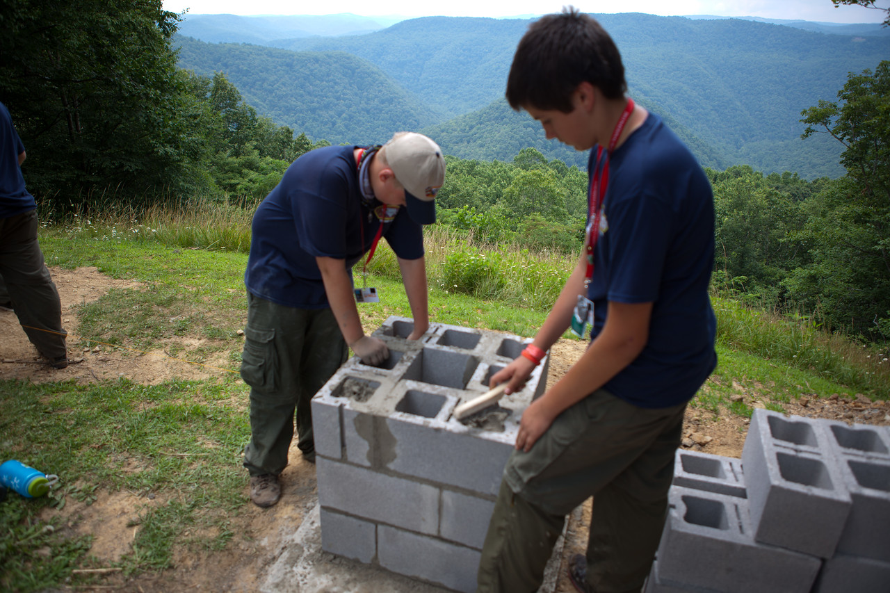 Boy Scouts building a new structure for a scenic spot in a national park in West Virginia. Corporation for National and Community Service Photo.