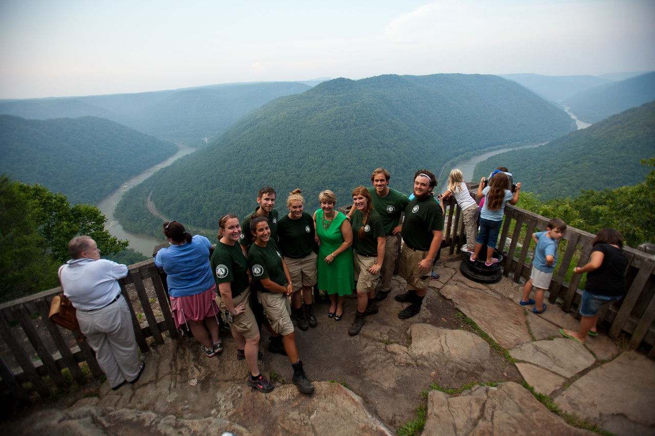 CNCS CEO, Wendy Spencer and NCCC members at the New River Gorge. Corporation for National and Community Service Photo.