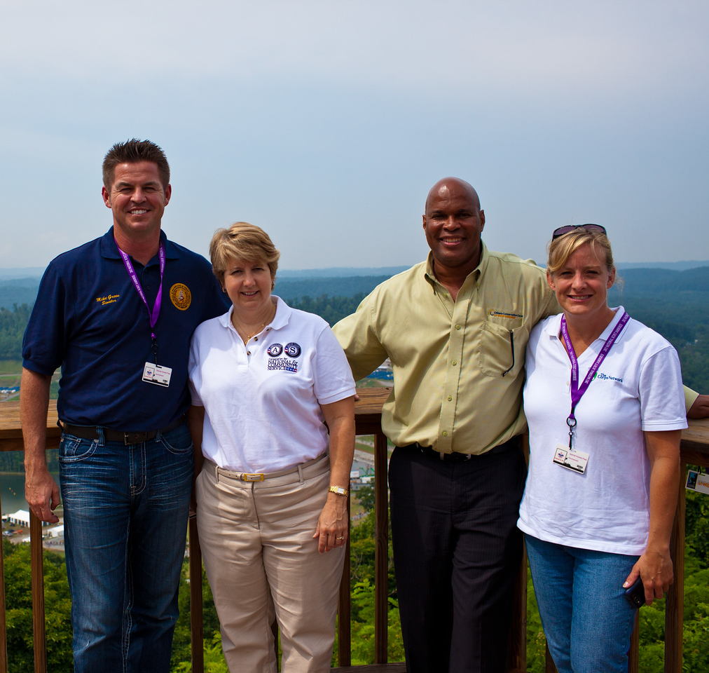 State Senator Mike Green (D - Raleigh, 09), CNCS CEO, Wendy Spencer, Citizens Conservation Corps of West Virginia Executive Director Robert Martin, President and CEO of the Corps Network, Mary Ellen Ardouny at the top of the summit where the 2013 National Scout Jamboree took place. Corporation for National and Community Service Photo.