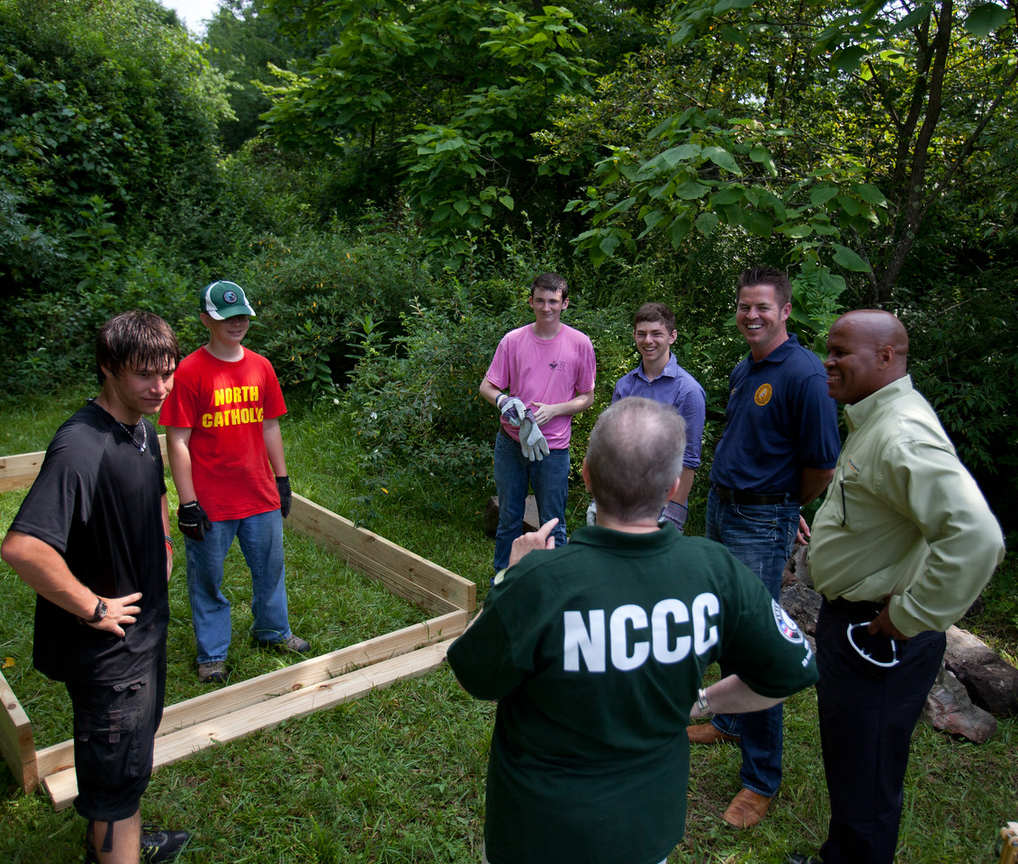 AmeriCorps NCCC Director, Kate Raftery speaking with volunteers in Whipple, WV. Corporation for National and Community Service Photo.