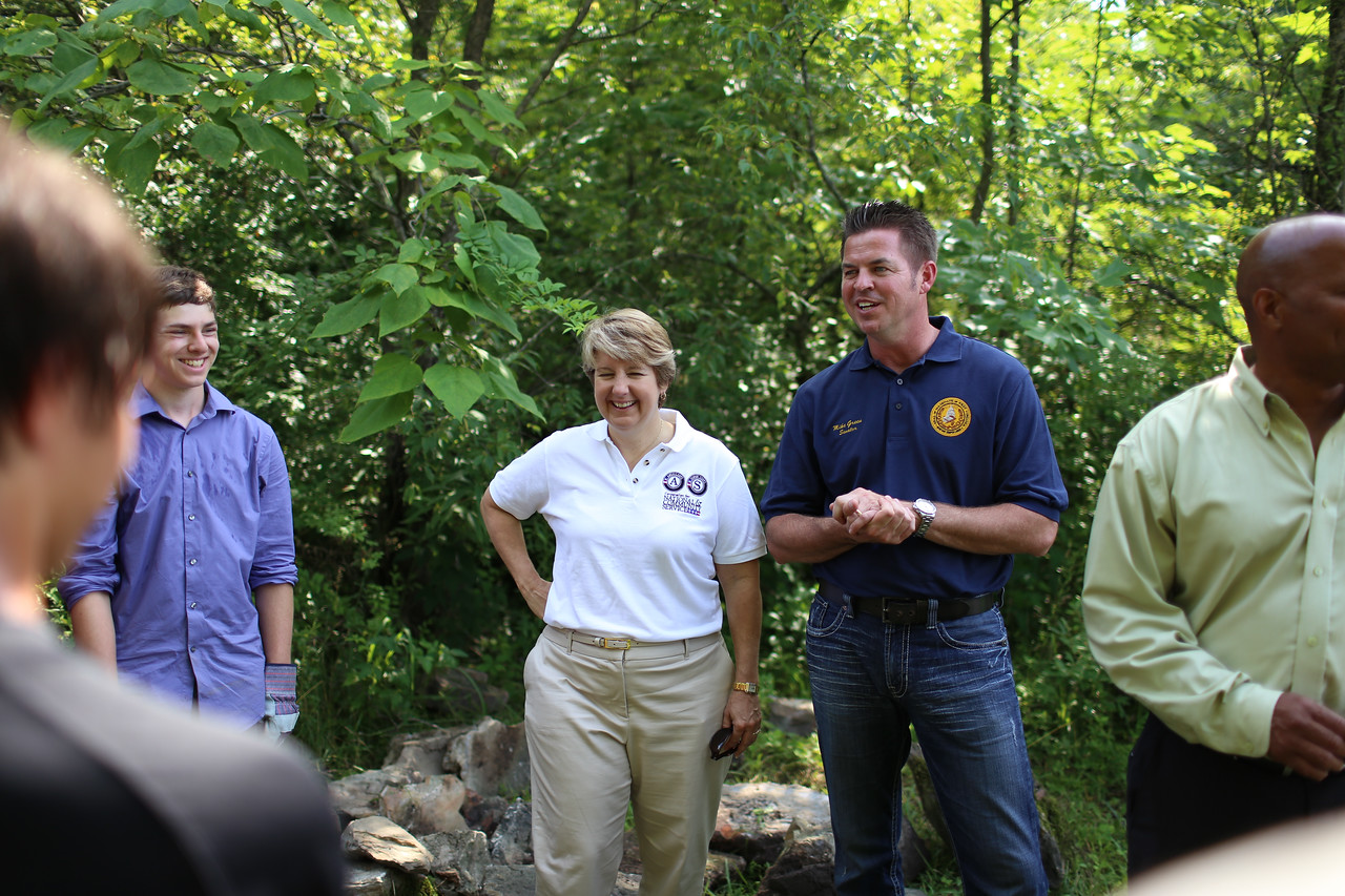 CNCS CEO, Wendy Spencer and WV State Senator Mike Green (D - Raleigh, 09) speaking with Boy Scout troop members in West Virginia. Corporation for National and Community Service Photo.