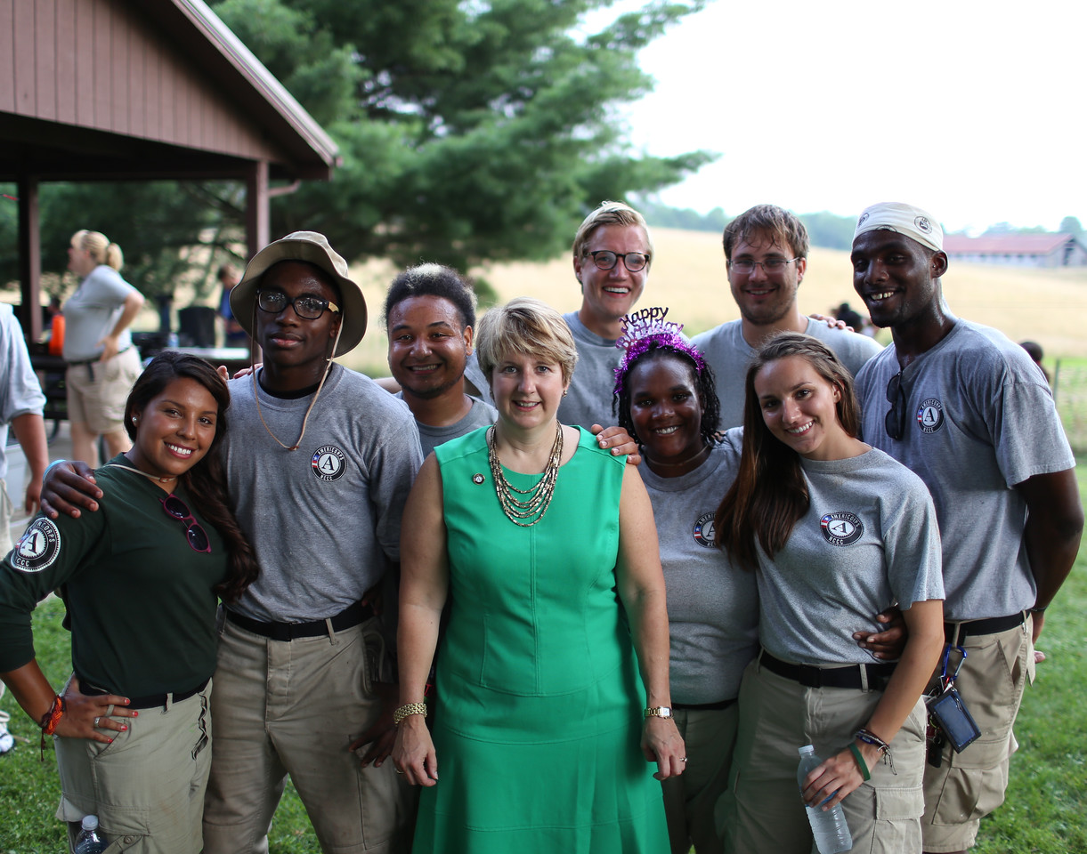 CNCS CEO, Wendy Spencer with AmeriCorps NCCC members in West Virginia. Corporation for National and Community Service Photo.