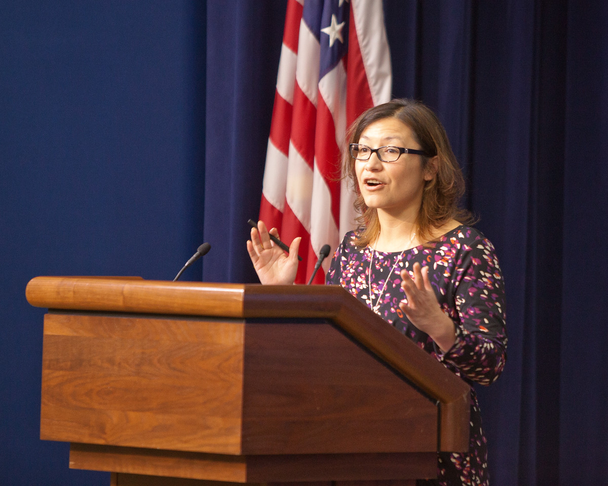 Julie Chavez Rodriguez, Deputy Director, Office of Public Engagement at the White House, speaking at the Cesar E. Chavez Champions of Change event. Corporation for National and Community Service Photo.