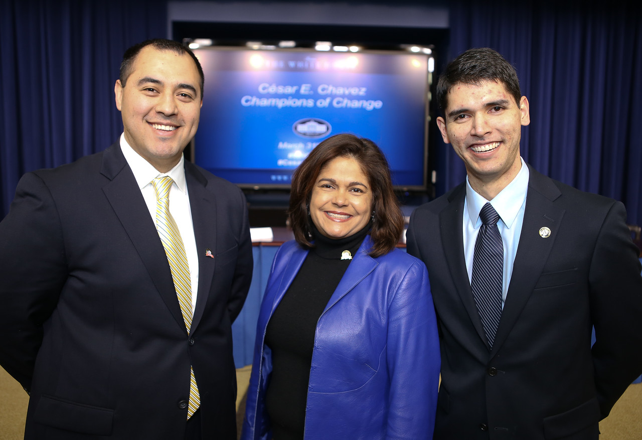 Germain Castellanos - AmeriCorps alum and current program director of SHINE Educational Leadership Program , CNCS Board Chair Lisa Garcia Quiroz and Xavier A. Muñoz, an AmeriCorps member serving through the Literacy Council of Northern Virginia. Cesar E. Chavez Champions of Change Event at the White House. Corporation for National and Community Service Photo.