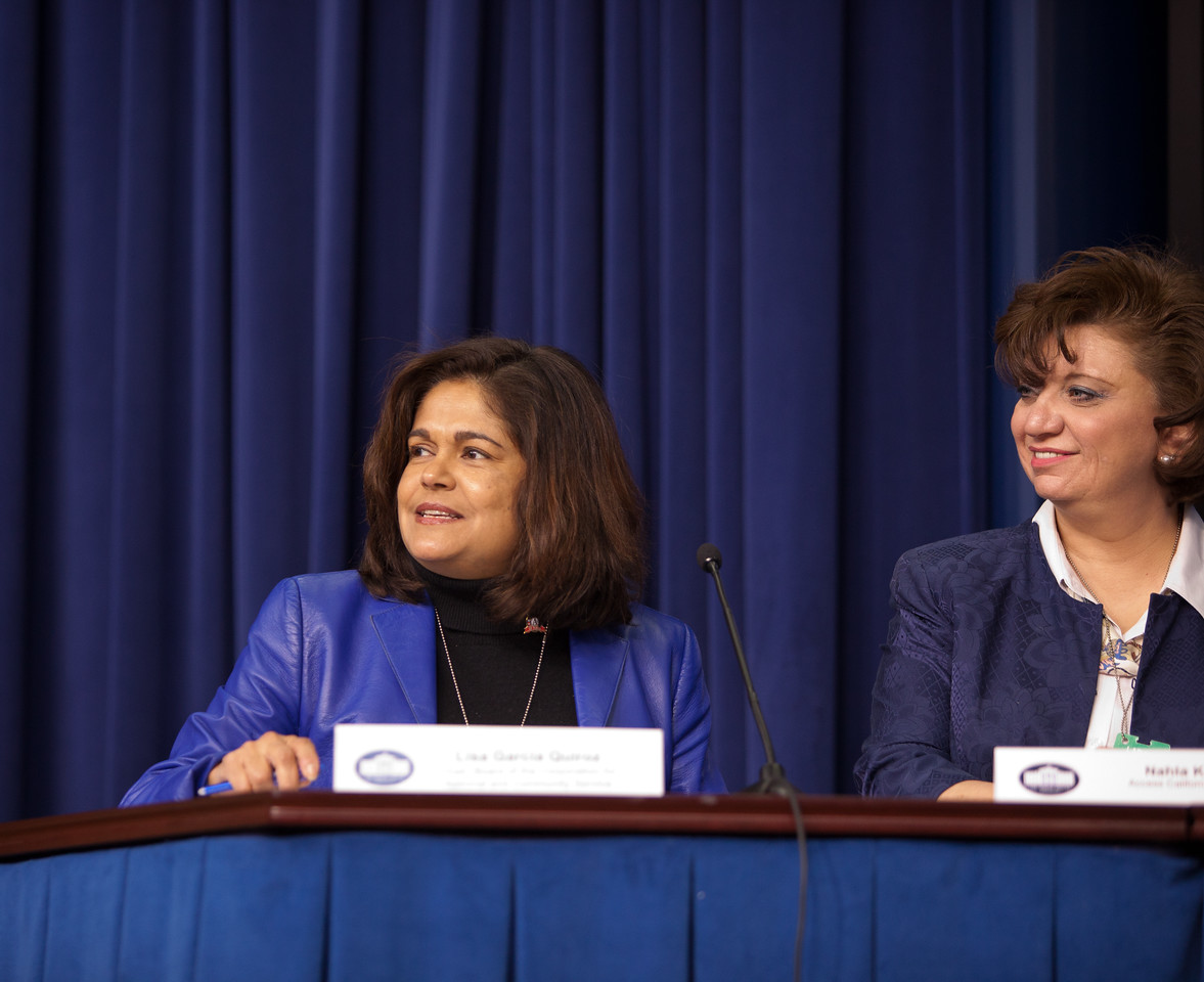 CNCS Board Chair Lisa Garcia Quiroz at the Cesar E. Chavez Champions of Change event at the White House. Corporation for National and Community Service Photo.