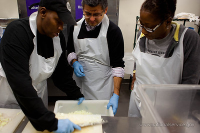 (L-R) Volunteer, Acting CEO, Robert Velasco II, Corporation for National and Community Service, volunteer at DC Central Kitchen. Corporation for National and Community Service Photo.