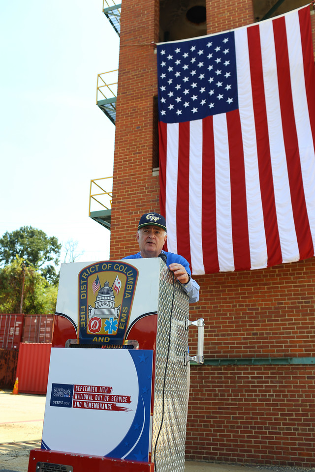 GWU President, Dr. Steven Knapp speaks at the 9/11 Day of Service at the D.C. Fire and EMS training facility. Corporation for National and Community Service Photo.