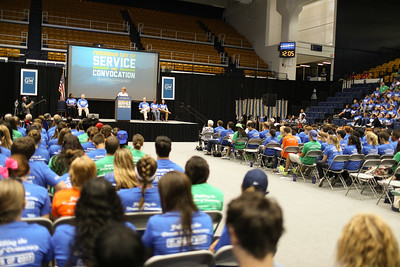 CNCS CEO, Wendy Spencer speaks at the George Washington University Freshman Day of Service. Corporation for National and Community Service Photo.