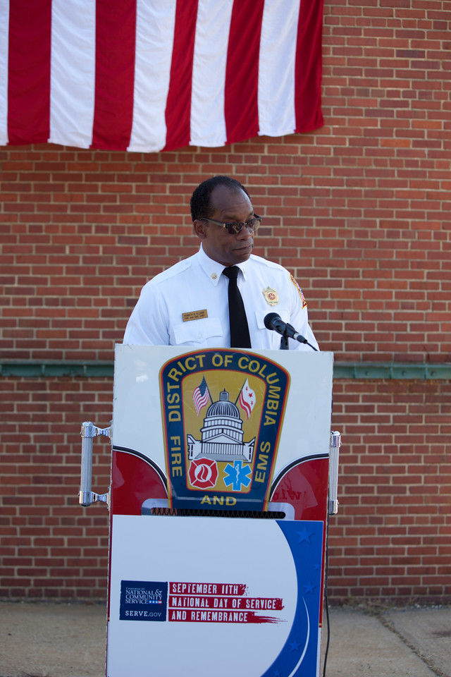 Washington D.C. Fire Chief, Kenneth Ellerbe speaks to volunteers at the 9/11 Day of Service at the D.C. Fire and EMS training facility. Corporation for National and Community Service Photo.