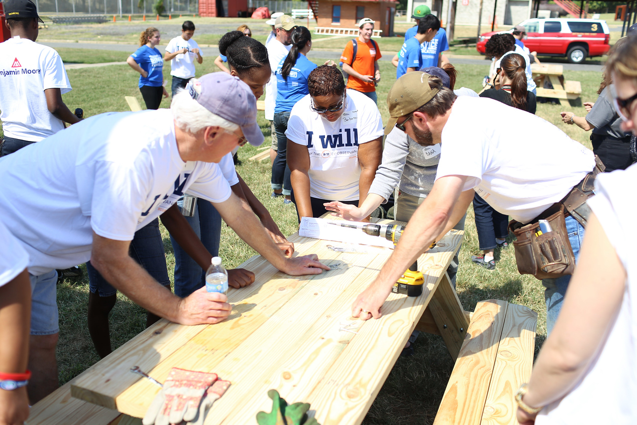 Volunteers serving at the 9/11 Day of Service at the D.C. Fire and EMS training facility. Corporation for National and Community Service Photo.