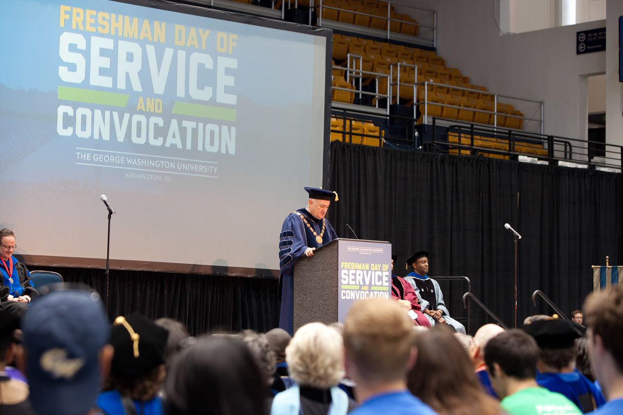 GWU President, Dr. Steven Knapp speaking to students. George Washington University Freshman Day of Service. Corporation for National and Community Service Photo.