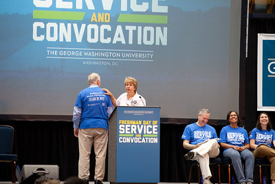 CNCS CEO, Wendy Spencer speaks to students at the George Washington University Freshman Day of Service. Corporation for National and Community Service Photo.