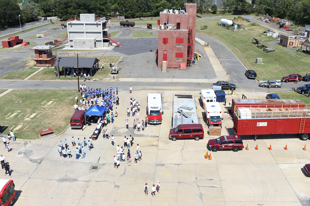 Aerial view from training tower of the 9/11 Day of Service at the D.C. Fire and EMS training facility. Corporation for National and Community Service Photo.