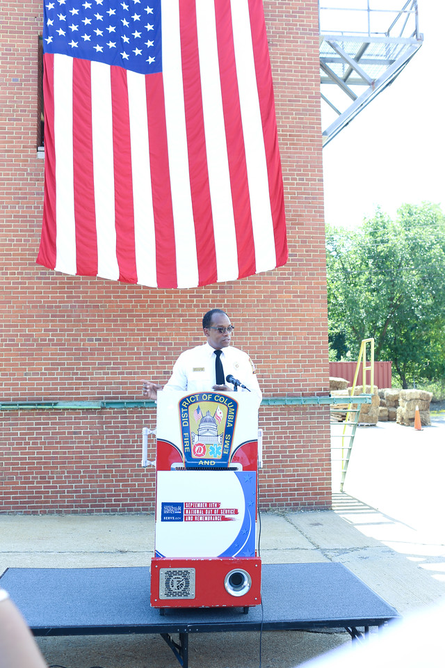 D.C. Fire Chief, Kenneth Ellerbe at the 9/11 Day of Service at the D.C. Fire and EMS training facility. Corporation for National and Community Service Photo.