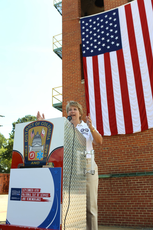 CNCS CEO, Wendy Spencer speaks at the 9/11 Day of Service at the D.C. Fire and EMS training facility. Corporation for National and Community Service Photo.