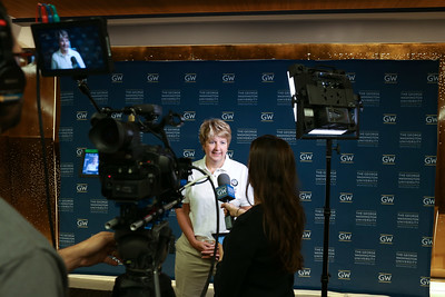 CNCS CEO, Wendy Spencer is interviewed at the  George Washington University Freshman Day of Service. Corporation for National and Community Service Photo.