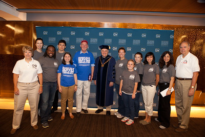 CNCS CEO, Wendy Spencer, GWU President, Dr. Steven Knapp, Director of AmeriCorps, Bill Basl and GWU members of the Center for Civic Engagement and Public Service. Corporation for National and Community Service Photo.