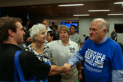 CNCS CEO, Wendy Spencer and GWU, President, Dr. Steven Knapp. George Washington University Freshman Day of Service. Corporation for National and Community Service Photo.