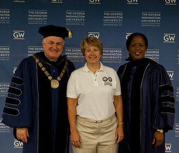 GWU President, Dr. Steven Knapp, CNCS CEO, Wendy Spencer and GWU Trustee and Chair of the National Board of Directors, Roslyn Brock. Corporation for National and Community Service Photo.