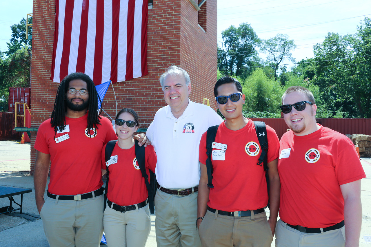 Director of AmeriCorps, Bill Basl with City Year members at the 9/11 Day of Service at the D.C. Fire and EMS training facility. Corporation for National and Community Service Photo.