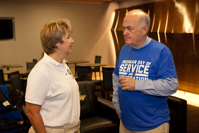 CEO, Wendy Spencer speaking with GWU President, Dr. Steven Knapp. Corporation for National and Community Service Photo.