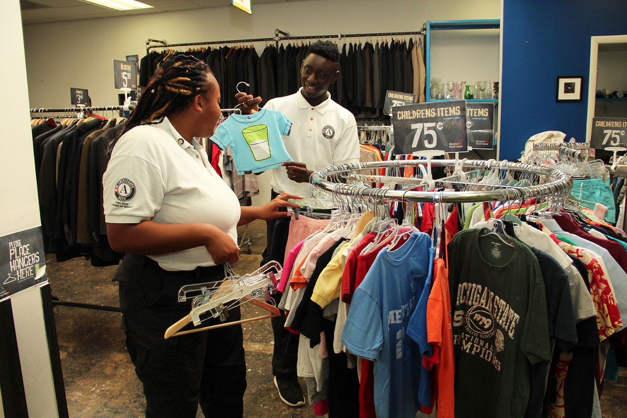 AmeriCorps members sort clothing donated for affordable resale at Martha's Table in Washington, D.C. on the September 11th National Day of Service and Remembrance. Corporation for National and Community Service Photo.