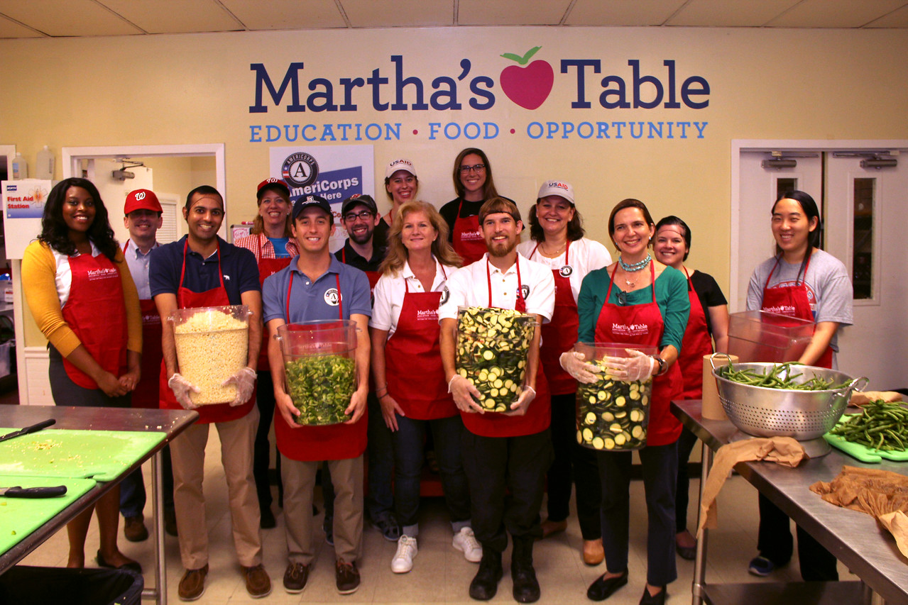 Volunteers and AmeriCorps members prepared food at Martha's Table in Washington, D.C. on the September 11th National Day of Service and Remembrance. Corporation for National and Community Service Photo.