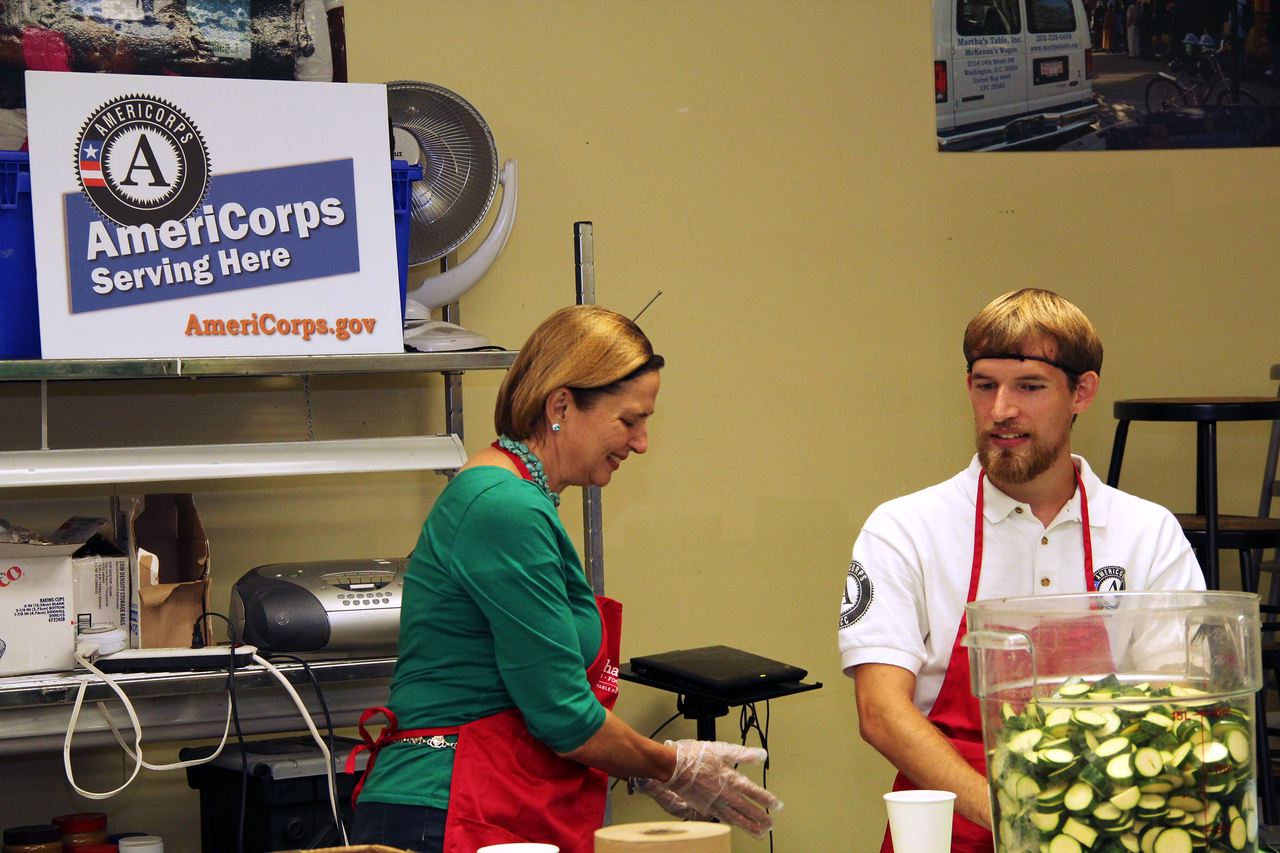 An AmeriCorps member and volunteer serve at Martha's Table in Washington, D.C. on the September 11th National Day of Service and Remembrance. Corporation for National and Community Service Photo.
