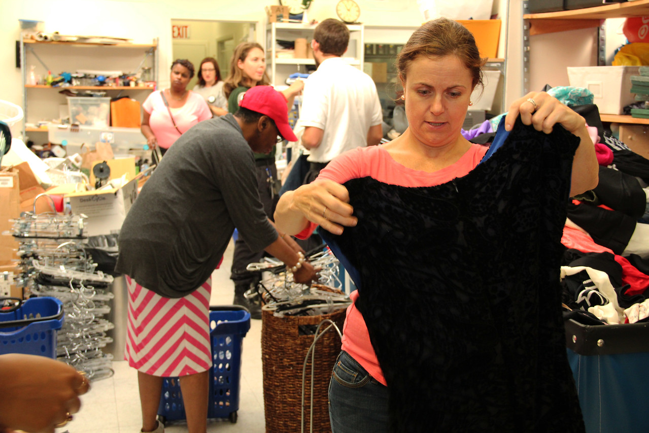 Volunteers sort donated clothing at Martha's Table in Washington, D.C. on the September 11th National Day of Service and Remembrance. Corporation for National and Community Service Photo.