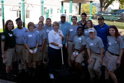Ambassador Ron Kirk and Wendy Spencer, CEO of the Corporation for National and Community Service, joined AmeriCorps NCCC members at a Washington,DC area service project on September 11 National Day of Service and Remembrance. (CNCS Photo, 9/2012)